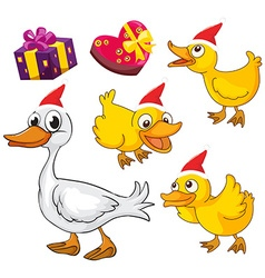 Christmas theme with ducks and presents vector