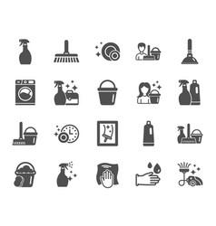 cleaning icons laundry sponge and vacuum vector image