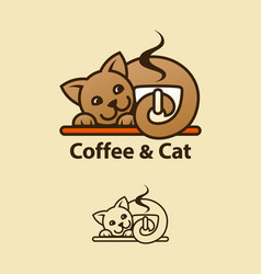coffee and cat concept emblem vector image