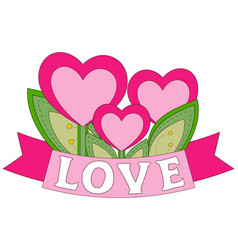 colorful poster heart plants with leafs and ribbon vector image