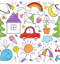 Coloring seamless pattern with kids drawings vector
