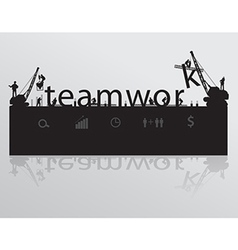 Construction site crane building teamwork text vector image