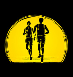 Couple running together marathon runner vector