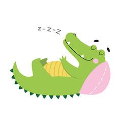 Cute crocodile sleeping on pillow funny alligator vector