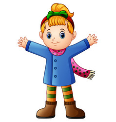 Cute girl wearing winter clothes waving vector