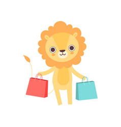 cute lion standing with shopping bags funny vector image