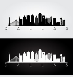 Dallas usa skyline and landmarks silhouette vector
