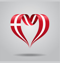 Danish flag heart-shaped ribbon vector