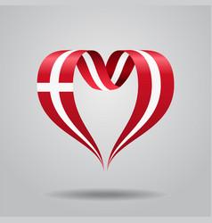 Danish flag heart-shaped ribbon vector