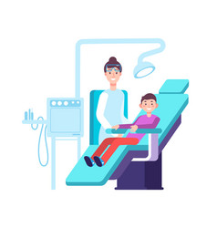 dentist and kid patient doctor exams child teeth vector image
