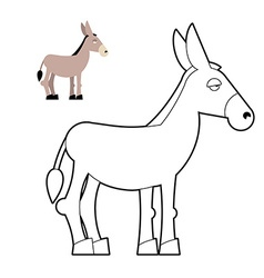 Donkey coloring book Circuit animal Childrens vector image