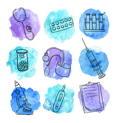 doodle set of medical equipment vector image