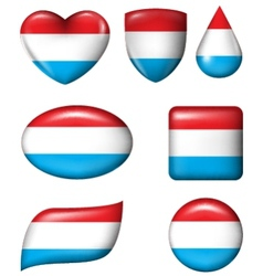 Dutch flag in various shape glossy button vector