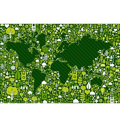 Earth Globe map with green icons background vector