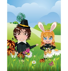 Easter Boy and Girl vector image