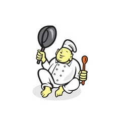 Fat Buddha Chef Cook Sitting Cartoon vector image
