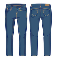 Front and back view denim pants vector