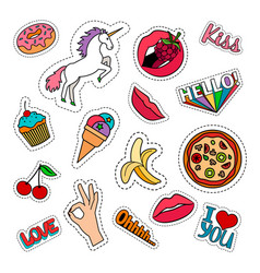 Funny food stickers set vector