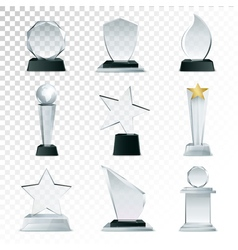 Glass Trophies Collection Transparent Realistic vector