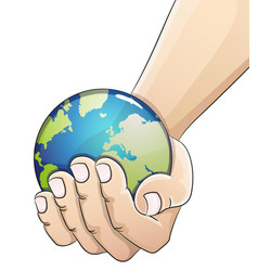 globe in hand earth day concept vector image