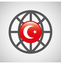 Globe sphere flag turkey country button graphic vector