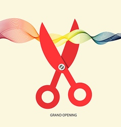 Grand Opening with Scissors and Colorful Wave vector image