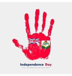 Handprint with the Bermuda flag in grunge style vector