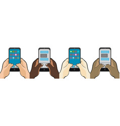 Hands texting on cell phone vector