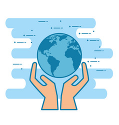 Hands with world planet vector