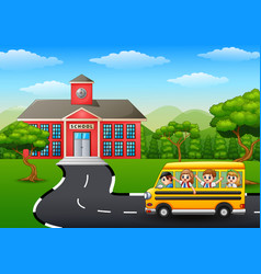 Happy children going to school with school bus vector