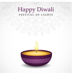 Happy diwali diya candle card for hindu festival vector