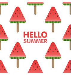 hello summer letters in seamless watermelon vector image