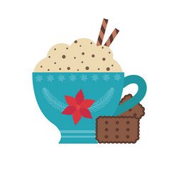 Hot chocolate in cup and cookies icon vector