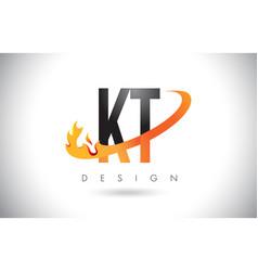 Kt k t letter logo with fire flames design vector