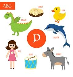 Letter D Cartoon alphabet for children Duck drum vector