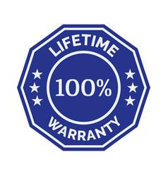 lifetime warranty flat badge vector image