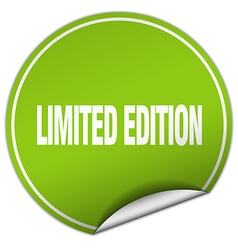 Limited edition round green sticker isolated on vector