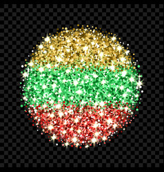 lithuania flag sparkling badge vector image