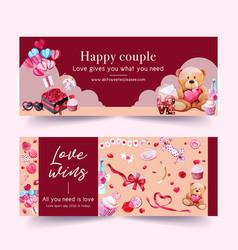 Love banner design with rose bear ribbon vector