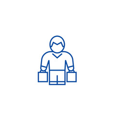man with shopping bags line icon concept man with vector image
