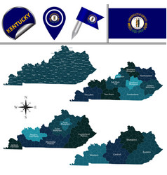 Map kentucky with regions vector