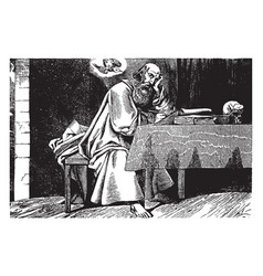 Matthew writing or the apostle vintage vector