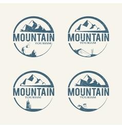 Mountain tourism logos vector