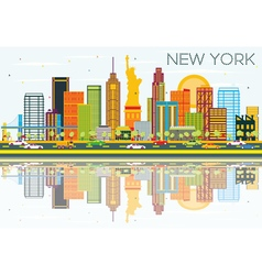 New York Skyline with Color Buildings vector