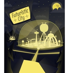 Night futuristic city vector image