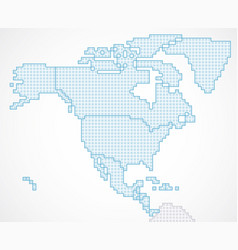 north america continent with state borders vector image