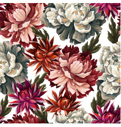 Ornate seamless pattern with vintage peonies vector