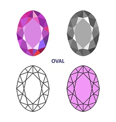 Oval gem cut vector