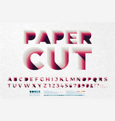 paper cut out font letters with texture vector image