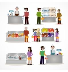 People in supermarket vector